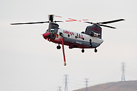 Boeing CH-47D Chinook N405AJ operating out of Meadowlark Field in Livermore, California, in response to the 2020 SCU Lightning Complex fires. <br /> N405AJ was originally built for the Army as 63-07905 in 1964 and is currently operated by Billings Flying Service out of Billings, Montana.