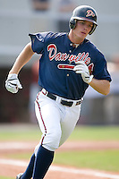 Jon Gilmore (19) of the Danville Braves hustles down the first base line at Dan Daniels Park in Danville, VA, Sunday July 27, 2008.