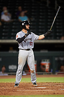 Scottsdale Scorpions Joey Bart (27), of the San Francisco Giants organization, at bat during an Arizona Fall League game against the Mesa Solar Sox on September 18, 2019 at Sloan Park in Mesa, Arizona. Scottsdale defeated Mesa 5-4. (Zachary Lucy/Four Seam Images)