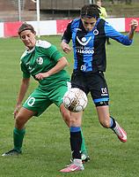 Club Brugge Vr  -  Maria Ter Heide :    : Febe Vanhaecke van Club ontzet voor Thalia De Roovere .<br /> foto VDB / BART VANDENBROUCKE