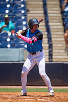 Tampa Tarpons Max Burt (21) bats during a game against the Dunedin Blue Jays on May 9, 2021 at George M. Steinbrenner Field in Tampa, Florida.  (Mike Janes/Four Seam Images)
