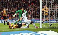 Pictured:  (L-R) Curtis Good, Matt Duke, Nathan Dyer. Sunday 24 February 2013<br /> Re: Capital One Cup football final, Swansea v Bradford at the Wembley Stadium in London.