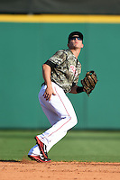 Arkansas Travelers second baseman Alex Yarbrough (7) during a game against the San Antonio Missions on May 25, 2014 at Dickey-Stephens Park in Little Rock, Arkansas.  Arkansas defeated San Antonio 3-1.  (Mike Janes/Four Seam Images)