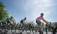 maglia rosa Simon Gerrans (AUS/Orica-GreenEDGE) in action<br /> <br /> 2015 Giro<br /> stage 2: Albenga - Genova (177km)