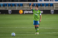 SAN JOSE, CA - OCTOBER 18: Nicolas Lodeiro #10 of the Seattle Sounders prepares for a free kick during a game between Seattle Sounders FC and San Jose Earthquakes at Earthquakes Stadium on October 18, 2020 in San Jose, California.