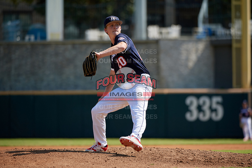 Pitcher Thatcher Hurd (20) during the Baseball Factory All-Star Classic at Dr. Pepper Ballpark on October 4, 2020 in Frisco, Texas.  Pitcher Thatcher Hurd (20), a resident of Manhattan Beach, California, attends Mira Costa High School.  (Mike Augustin/Four Seam Images)