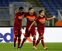 Football Soccer: Europa League -Round of 16 1nd leg AS Roma vs FC Shakhtar Donetsk, Olympic Stadium. Rome, Italy, March 11, 2021.<br /> Roma's captain Lorenzo Pellegrini (C) celebrates after scoring with his teammates during the Europa League football soccer match between Roma and  Shakhtar Donetsk at Olympic Stadium in Rome, on March 11, 2021.<br /> UPDATE IMAGES PRESS/Isabella Bonotto