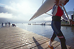 Rowing, Rowers coming off Lac Aiguebelette, Rowing World Championships, France, Europe.