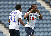 Preston North End's Daniel Johnson celebrates scoring his sides first goal <br /> <br /> Photographer Mick Walker/CameraSport<br /> <br /> The EFL Sky Bet Championship - Preston North End v Cardiff  City - Saturday 27th June 2020 - Deepdale Stadium - Preston<br /> <br /> World Copyright © 2020 CameraSport. All rights reserved. 43 Linden Ave. Countesthorpe. Leicester. England. LE8 5PG - Tel: +44 (0) 116 277 4147 - admin@camerasport.com - www.camerasport.com