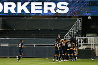 SAN JOSE, CA - SEPTEMBER 5: Chris Wondolowski #8 of the San Jose Earthquakes celebrates scoring with teammates during a game between Colorado Rapids and San Jose Earthquakes at Earthquakes Stadium on September 5, 2020 in San Jose, California.