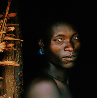 Portrait of Hamer tribesman in Turmi, Lower Omo Valley, Ethiopia