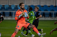 SAN JOSE, CA - OCTOBER 18: Stefan Frei #24 of the Seattle Sounders saves the ball during a game between Seattle Sounders FC and San Jose Earthquakes at Earthquakes Stadium on October 18, 2020 in San Jose, California.