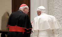 Papa Benedetto XVI, affiancato dal Cardinale Vicario di Roma Agostino Vallini, lascia l'aula Paolo VI al termine dell'incontro con i parroci di Roma, Citta' del Vaticano, 14 febbraio 2013. Il Pontefice lascera' il Papato il prossimo 28 febbraio..Pope Benedict XVI, flanked by Rome's Vicar General Cardinal Agostino Vallini, leaves at the end of his meeting with Rome's parish priests at the Paul VI hall, Vatican, 14 February 2013. The Pontiff will leave the papacy on next 28 February..UPDATE IMAGES PRESS/Riccardo De Luca -STRICTLY FOR EDITORIAL USE ONLY-