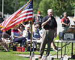 May 29, 2017- Tuscola, IL- James Voyles speaks to the crowd during the Memorial Day ceremony at the Tuscola Cemetery. [Photo: Douglas Cottle]