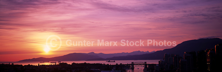 Sun-Set over Howe Sound & Coast Mountains at the City of Vancouver. B.C. Canada..July 2010