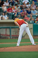 Salt Lake Bees starting pitcher Parker Bridwell (6) checks the runner at first base during a game against the Oklahoma City Dodgers at Smith's Ballpark on August 1, 2019 in Salt Lake City, Utah. The Bees defeated the Dodgers 14-4. (Stephen Smith/Four Seam Images)