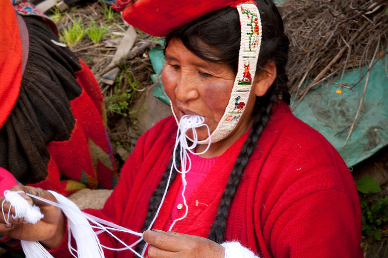 Each year, the weavers of Huilloc and the surrounding communities in the valley, gather together to dye the year's supply of wool. While this intensive process takes much time and manual labor, the delightful textiles provide great economic value.