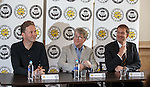 Partick Thistle launch new sponsor, Califonia based Kingsford Capital Management and new mascot Kingsley designed by artist David Shrigley. Pictured are David Shrigley, Mike Wilkins and Ian Maxwell Partick MD