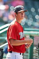 Fort Wayne TinCaps pitcher Matt Wisler #5 in the dugout before a Midwest League game against the Dayton Dragons at Parkview Field on August 19, 2012 in Fort Wayne, Indiana.  Dayton defeated Fort Wayne 5-1.  (Mike Janes/Four Seam Images)