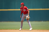 Second baseman Cooper Kinney (57) of Baylor School in Chattanooga, TN playing for the Cincinnati Reds scout team during the East Coast Pro Showcase at the Hoover Met Complex on August 5, 2020 in Hoover, AL. (Brian Westerholt/Four Seam Images)