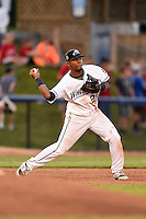 West Michigan Whitecaps third baseman Francisco Contreras (29) throws to second during a game against the Great Lakes Loons on June 5, 2014 at Fifth Third Ballpark in Comstock Park, Michigan.  West Michigan defeated Great Lakes 6-2.  (Mike Janes/Four Seam Images)