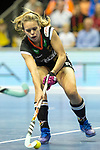 Berlin, Germany, February 10: During the FIH Indoor Hockey World Cup quarterfinal match between Germany (black) and Poland (red) on February 10, 2018 at Max-Schmeling-Halle in Berlin, Germany. Final score 3-1. (Photo by Dirk Markgraf / www.265-images.com) *** Local caption *** Anne SCHROEDER #8 of Germany