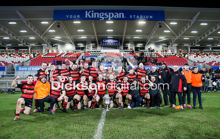 Friday 6th March 2020   Armagh RFC vs Ballynahinch RFC<br /> <br /> City of Armagh RFC captain Robert Whitten celebrate winning the Bank Of Ireland Ulster Senior Cup after his side defeated Ballynahinch RFC in the Bank Of Ireland Ulster Senior Cup Final at Kingspan Stadium, Ravenhill Park, Belfast, Northern Ireland. Photo by John Dickson / DICKSONDIGITAL