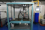 The testing department where an Oltre frame undergoes tests, Bianchi Factory, Treviglio, Italy. 30th September 2015.<br /> Picture: Eoin Clarke | Newsfile