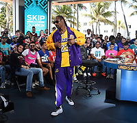 "MIAMI BEACH, FL - JANUARY 29: Snoop Dogg appears on the set of ""Skip & Shannon: Undisputed"" on the Fox Sports South Beach studio during Super Bowl LIV week on January 29, 2020 in Miami Beach, Florida. (Photo by Frank Micelotta/Fox Sports/PictureGroup)"