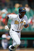 Montgomery Biscuits Jesus Sanchez (4) runs to first base during a Southern League game against the Mobile BayBears on May 2, 2019 at Riverwalk Stadium in Montgomery, Alabama.  Mobile defeated Montgomery 3-1.  (Mike Janes/Four Seam Images)