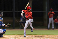 AZL Angels center fielder Jordyn Adams (21) at bat during an Arizona League game against the AZL Dodgers at Camelback Ranch on July 8, 2018 in Glendale, Arizona. The AZL Dodgers defeated the AZL Angels by a score of 5-3. (Zachary Lucy/Four Seam Images)
