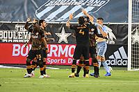 KANSAS, KS - AUGUST 25: Houston Dynamo goal celebration during a game between Houston Dynamo and Sporting Kansas City at Children's Mercy Park on August 25, 2020 in Kansas, Kansas.