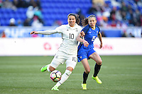 Harrison, NJ - Saturday, March 04, 2017: Dzsenifer Marozsan, Élise Bussaglia prior to a SheBelieves Cup match between the women's national teams of France (FRA) and Germany (GER) at Red Bull Arena.