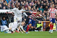 Real Madrid´s Ferland Mendy and Atletico de Madrid´s Angel Correa during La Liga match. February 1, 2020. <br /> (ALTERPHOTOS/David Jar)<br /> 01/02/2020 <br /> Liga Spagna 2019/2020 <br /> Real Madrid - Atletico Madrid  <br /> Foto Alterphotos / Insidefoto <br /> ITALY ONLY