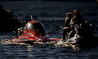 Jul. 18, 2009; Augusta, GA, USA; IHBA top alcohol hydro driver Mike Robbins is towed in by a jet ski after breaking during qualifying for the Augusta Southern Nationals on the Savannah River. Mandatory Credit: Mark J. Rebilas-