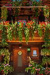 Oesterreich, Salzburger Land, Pinzgau, Dienten: altes Bauernhaus im Dorfzentrum mit ueppigem Blumenschmuck | Austria, Salzburger Land, Pinzgau, Pinzgau, Dienten: flower decorated farmhouse at village centre