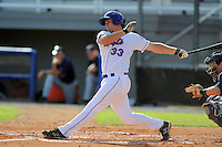 Kingsport Mets designated hitter Jon Leroux #33 swings at a pitch during a game against the Elizabethton Twins at Hunter Wright Stadium on June 29, 2013 in Kingsport, Tennessee. The Mets won the game 5-4. (Tony Farlow/Four Seam Images)