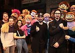 """Howie Dorough, AJ McLean and Kevin Richardson from the Backstreet Boys backstage with the cast and crew of  """"Avenue Q""""  at the New World Stages on January 27, 2019 in New York City."""