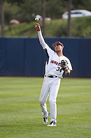 Jordan Qsar (34) of the Pepperdine Waves throws between innings of a game against the Texas A&M Aggies at Eddy D. Field Stadium on February 26, 2016 in Malibu, California. Pepperdine defeated Texas A&M, 7-5. (Larry Goren/Four Seam Images)