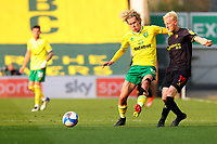 20th April 2021; Carrow Road, Norwich, Norfolk, England, English Football League Championship Football, Norwich versus Watford; Will Hughes of Watford  under pressure from Todd Cantwell of Norwich City