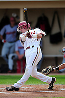 Boston College Eagles first baseman Michael Strem (10) during a game versus the Hartford Hawks at Pellagrini Diamond at Shea Field on May 9, 2015 in Chestnut Hill, Massachusetts. (Ken Babbitt/Four Seam Images)