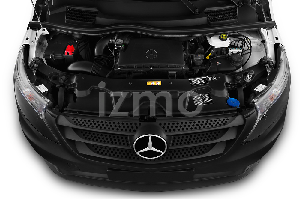 Car stock 2019 Mercedes Benz Vito Base 4 Door Cargo Van engine high angle detail view