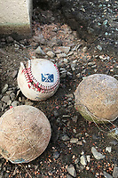 Old baseballs sit outside the stadium before a Jackson Generals game against the Chattanooga Lookouts on April 29, 2017 at The Ballpark at Jackson in Jackson, Tennessee.  Jackson defeated Chattanooga 7-4.  (Mike Janes/Four Seam Images)