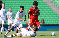 ..Action photo of Alejandro Guido (L) of USA and Ales Cermak of the Czech Republic (R), during game of the FIFA Under 17 World Cup game, held at  Torreon.