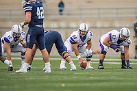 8 October 2016: Amherst College Purple & White Offensive Lineman Austin Park, a Senior from Pittsburgh, PA, is set to snap as center against the Middlebury College Panthers at Alumni Stadium in Middlebury, Vermont. The Panthers edged out the Purple & While 27-26. Mandatory Credit: Ed Wolfstein Photo *** RAW (NEF) Image File Available ***