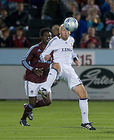 Real Salt Lake forward Clint Mathis protects the ball from Colorado's Ugo Ihemelu. Real Salt Lake earned a tied versus the Colorado Rapids securing a place in the postseason. Dick's Sporting Goods Park, Denver, Colorado, October, 25, 2008. Photo by Trent Davol/isiphotos.com