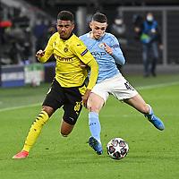 14th April 2021; Induna Park, Dortmund, Germany; UEFA Champions League Football quarter-final, Borussia Dortmund versus Manchester City;  Knauff Dortmund and Phil Foden Manchester City