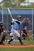 Tampa Bay Rays Jonathan Aranda (48) bats during a Minor League Spring Training game against the Baltimore Orioles on April 23, 2021 at Charlotte Sports Park in Port Charlotte, Florida.  (Mike Janes/Four Seam Images)