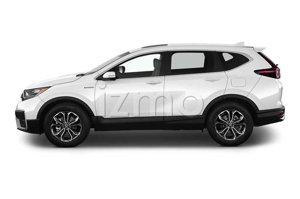 Car Driver side profile view of a 2021 Honda CR-V-Hybrid EX 5 Door SUV Side View