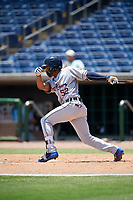 Lakeland Flying Tigers designated hitter Jose Azocar (52) follows through on a swing during a game against the Clearwater Threshers on May 2, 2018 at Spectrum Field in Clearwater, Florida.  Clearwater defeated Lakeland 7-5.  (Mike Janes/Four Seam Images)